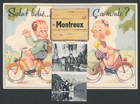 Leporello-AK Montreux, Radfahrer grüssen sich, Schloss Chillon, Dampfer auf dem See