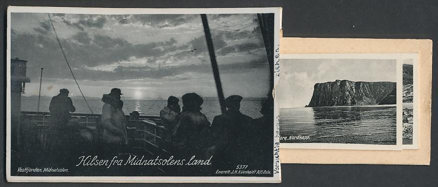 Leporello-AK Vestfjorden, Midnatsolen, Nordkap, Stigfossen, Lapp med ren