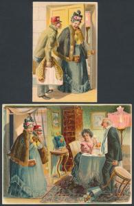 Mechanische-AK Heimkehrende Ehefrau erwischt den Gatten beim Diner mit einer Jüngeren