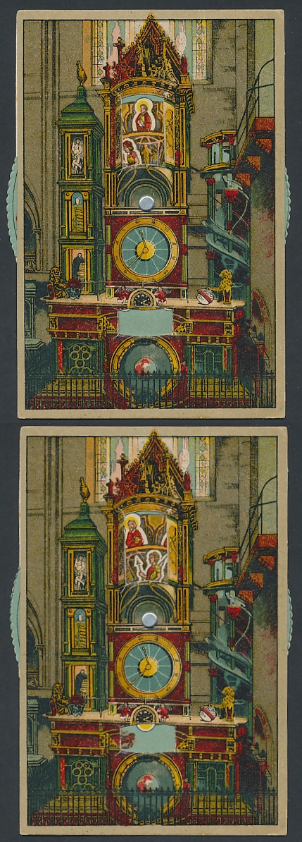 Mechanische-AK Strasbourg, L`horloge astronom. de la Cathédrale, Kunstuhr i. d. Kathedrale, Stellrad z. ändern d. Motivs