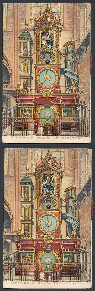 Mechanische-AK Strasbourg, L`horloge astronomique, Astronomische Münsteruhr, Stellrad z. ändern d. Motivs