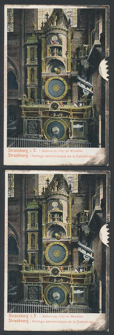 Mechanische-AK Strasbourg, Horloge astronom. de la Cathédrale, Astronom. Uhr im Münster, Stellrad z. ändern d. Motivs