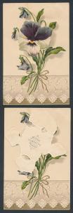 Mechanische-AK Stiefmütterchen mit Gruss hinter den aufklappbaren Blütenblättern