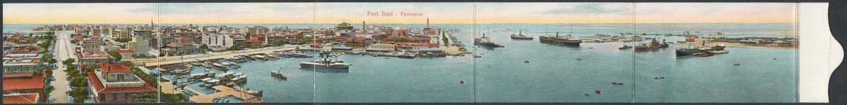 Klapp-AK Port Said, Panoramablick auf einen Teil der Stadt und den Hafen 0