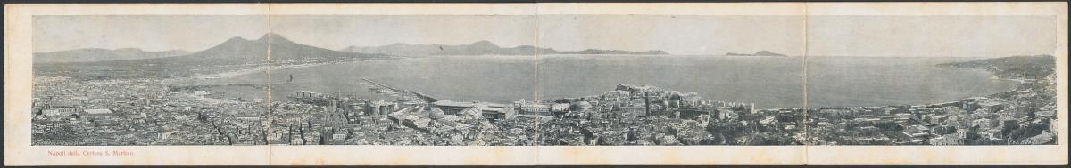 Klapp-AK Neapel / Napoli, Napoli della Certosa S. Martino, Panoramablick auf die Stadt und den Golf von Neapel