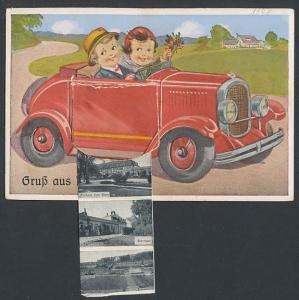 Leporello-AK Bad Meinberg, Auto-Tür verbirgt Leporello-Ansichten Kurhaus, Sternbad u.a.