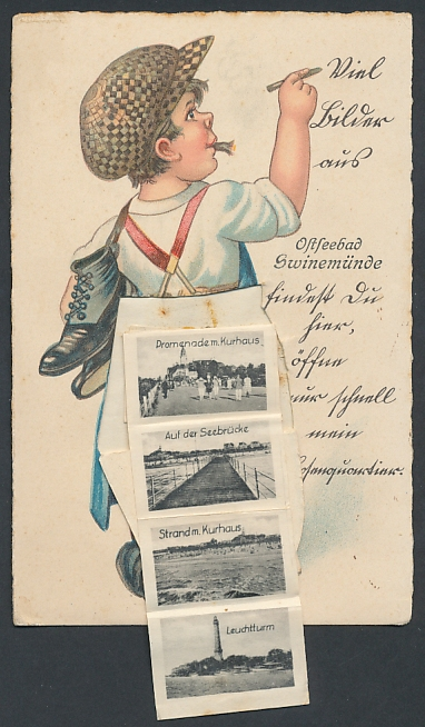 Leporello-AK Swinemünde, Schusterknabe mit Sehenswürdigkeiten im Hosenboden