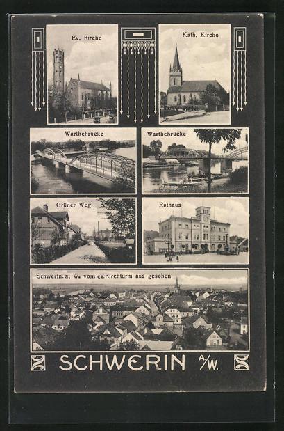 AK Schwerin / Skwierzyna, Grüner Weg, Kath. und Ev. Kirche, Rathaus