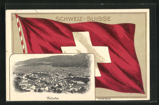 Präge-AK Vallorbe, Totalansicht und Fahne der Schweiz