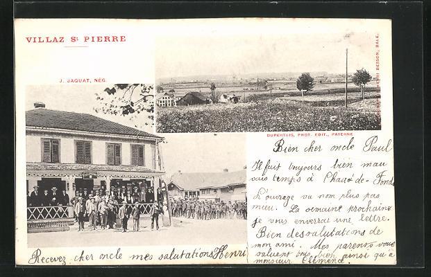 AK Villaz St. Pierre, Partie mit Geschäft und Panorama