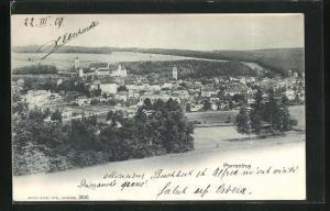 AK Porrentruy, Blick von der Bergwiese auf den Ort