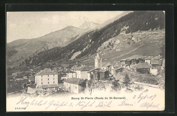 AK Bourg St-Pierre, Panoramablick mit Gebirge