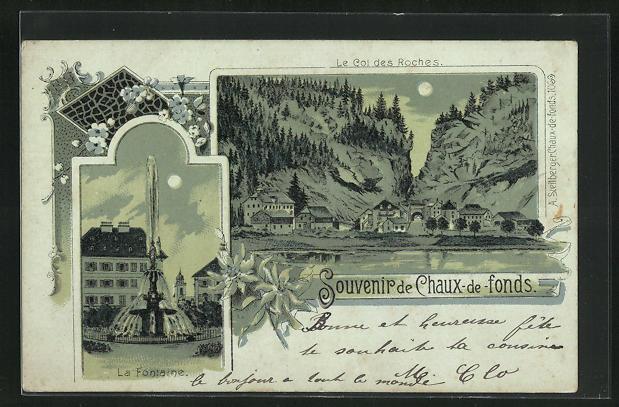 Mondschein-AK Chaux-de-fonds, Le Col des Roches, La Fontaine
