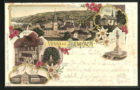 Lithographie Sempach, Festhütte 1870, Schlacht-Kapelle, National-Denkmal