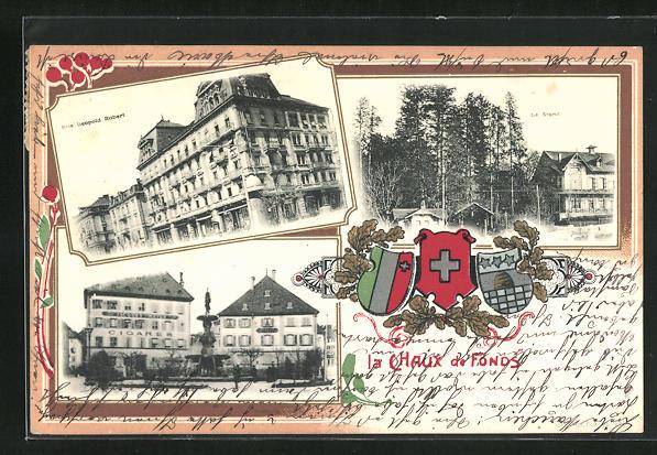 Präge-AK La Chaux de Fonds, Rue Leopold Robert, Le Stand, Strassenpartie mit Zigarrengeschäft von Jacques Meyer