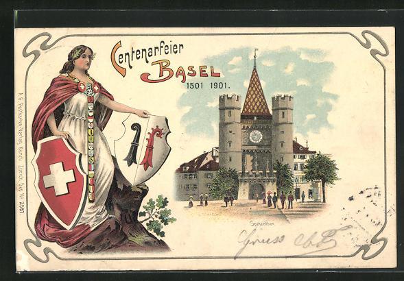 Lithographie Basel, Centenarfeier 1501-1901, Spalenthor, Helvetia mit Wappen
