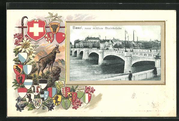 Präge-Lithographie Basel, mittlere Rheinbrücke, Passerpartout mit Kantonswappen