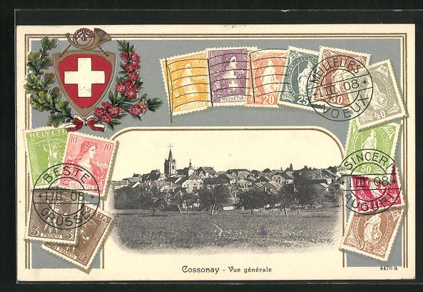 Präge-AK Cossonay, Vue générale, Passepartout mit Briefmarken
