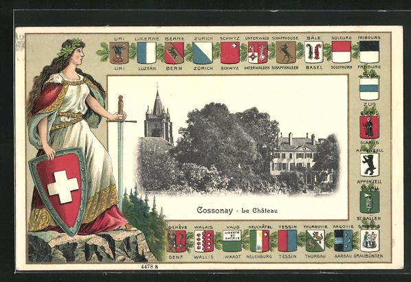 AK Cossonay, Le Chateau, Passepartout mit Kantonswappen und Helvetia