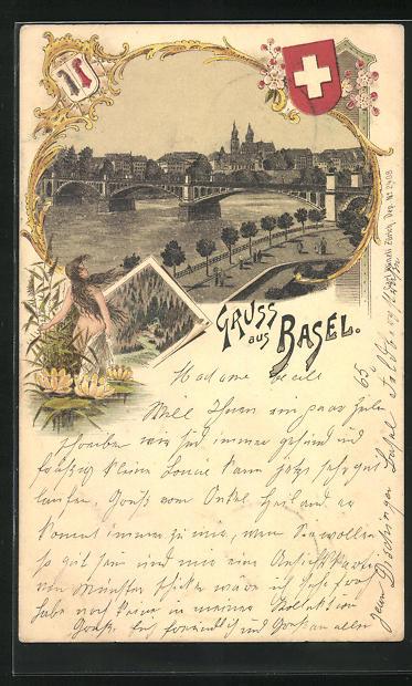 Lithographie Basel, Panorama mit Brücke und Wappen