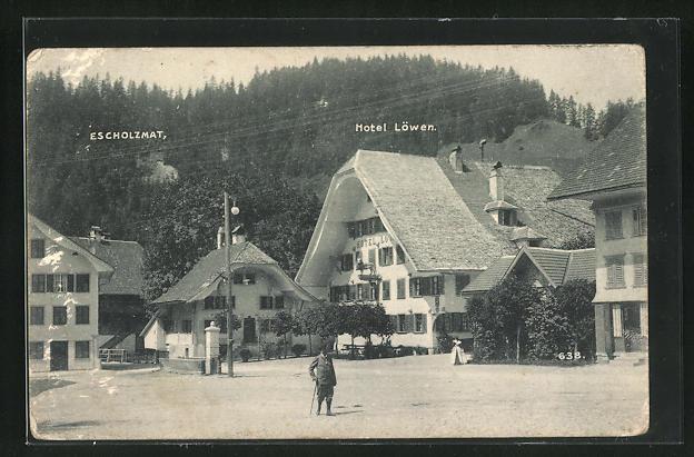 AK Escholzmatt, Hotel Löwen, Marktplatz