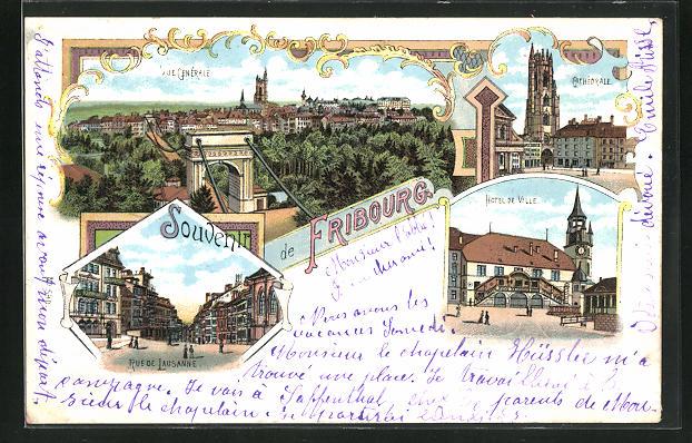 Lithographie Fribourg, Hotel de Ville, Cathedrale, Rue de Lausanne