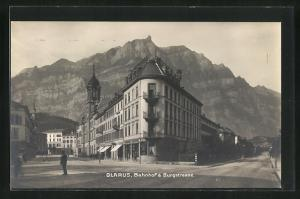 AK Glarus, Bahnhof & Burgstrasse