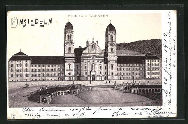 Lithographie Einsiedeln, Kirche und Kloster