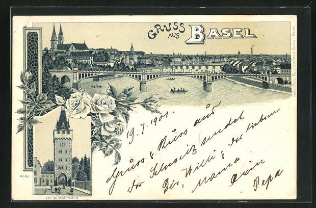 Lithographie Basel, St. Albanthor, Panoramaansicht mit Flussbrücke