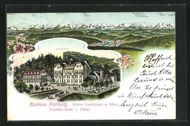 Lithographie Läufelfingen, Hurhaus Frohburg, Gebirgspanorama