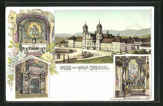 Lithographie Einsiedeln, Gnadenkapelle Maria Einsiedel, Hochaltar, Gnadenbild