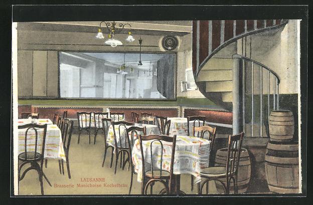 AK Lausanne, Brasserie Munichoise Kochelbräu, Innenansicht