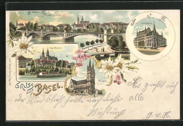 Lithographie Basel, Münster, Postgebäude, Wettsteinbrücke
