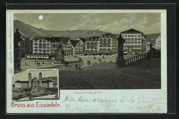 Mondschein-Lithographie Einsiedeln, Kloster, Hauptplatz