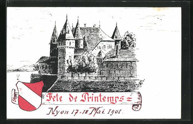 Lithographie Nyon, Fete des Printemps 1901, Schloss und Wappen