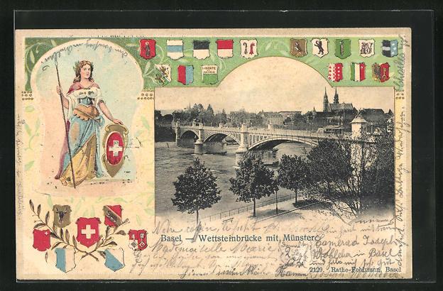 Präge-AK Basel, Blick auf Wettsteinbrücke und Münster
