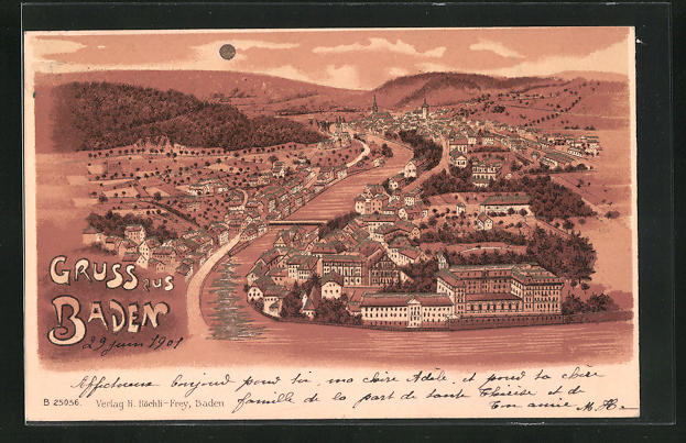 Lithographie Baden, Panoramablick mit Fluss und Gebirge