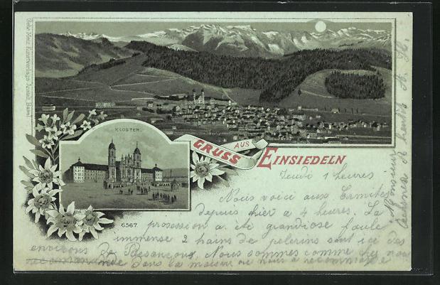 Mondschein-Lithographie Einsiedeln, Kloster und Gesamtansicht