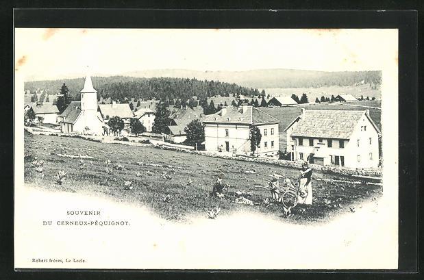 AK Cerneux-Pequignot, Blick von der Bergwiese auf den Ort