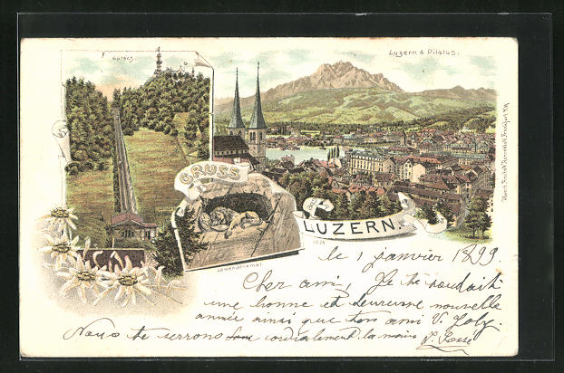 Lithographie Luzern, Löwendenkma, Gütsch und Panorama mit Pilatus