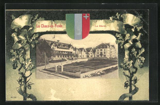 AK La Chaux-de-Fonds, Le Stand und Wappen