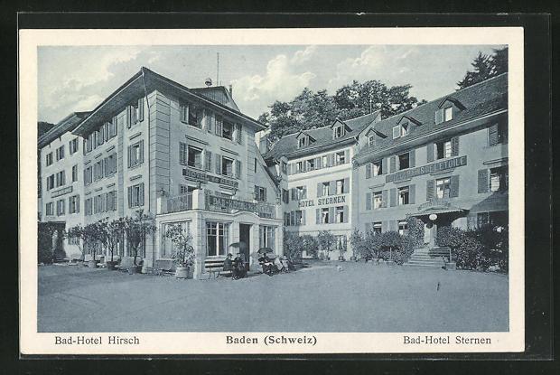 AK Baden, Bad-Hotel Hirsch und Bad-Hotel Sternen
