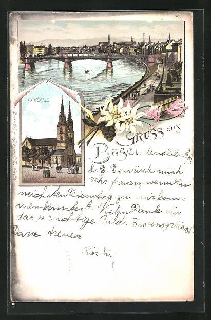 Lithographie Basel, Ansicht der Cathédrale, Teilansicht mit Brücke