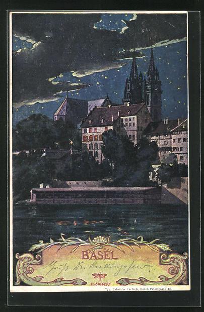 Künstler-AK Basel, Teilansicht mit Münster bei Nacht
