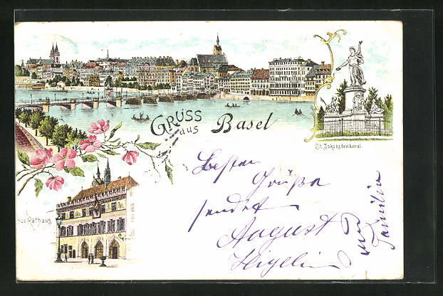 Lithographie Basel, Panorama, St. Jakobsdenkmal und Rathaus