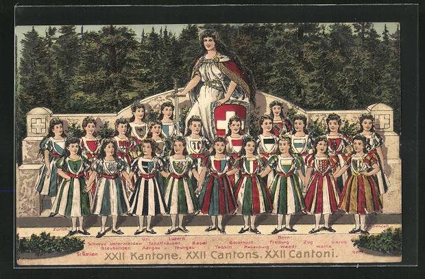 Präge-AK Schweiz, XII Kantone, Kantone Schwyz, Solothurn, Glarus etc. als Frauen