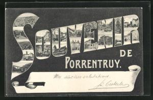 AK Porrentruy, Ortsansichten im Schriftzug Souvenir
