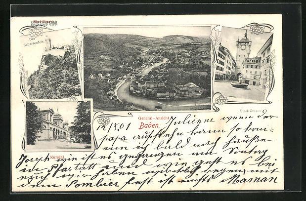 AK Baden, Gesamtansicht, Schartenfels, Stadtturm und Kursaal