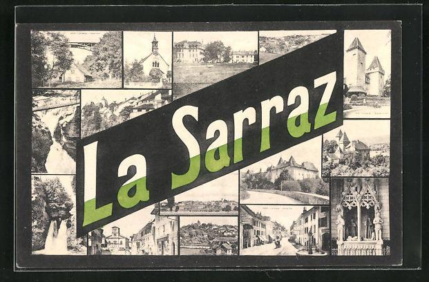 AK La Sarraz, Panorama und Teilansichten mit Kirche, Strasse und Wasserfall
