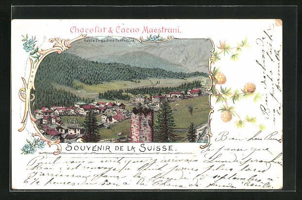Lithographie Pontresina, Panorama